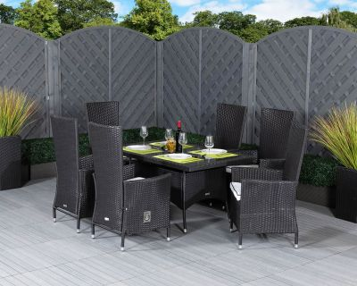 Cambridge 6 Reclining Chairs and Small Rectangular Dining Table Set in Black and Vanilla