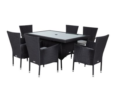 Cambridge 6 Chairs and Small Rectangular Table Set in Black and Vanilla