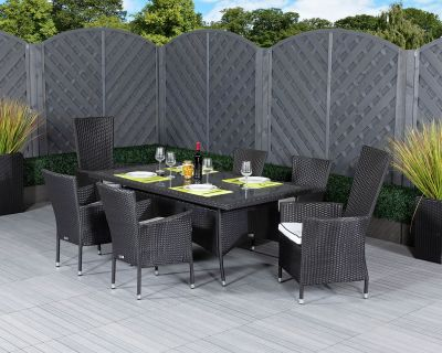 Cambridge 2 Reclining + 4 Non-Reclining Rattan Garden Chairs and Small Rectangular Table Set in Black and Vanilla