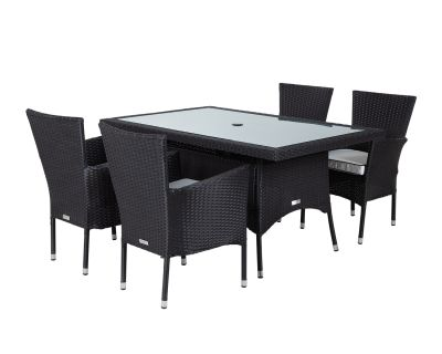 Cambridge 4 Rattan Garden Chairs and Small Rectangular Table Set in Black and Vanilla