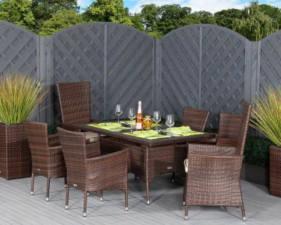 Cambridge 2 Reclining + 4 Non-Reclining Rattan Garden Chairs and Small Rectangular Dining Table Set in Chocolate and Cream