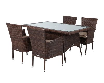 Cambridge 4 Rattan Garden Chairs and Small Rectangular Dining Table Set in Chocolate and Cream