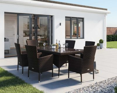 Cambridge 6 Rattan Garden Chairs and Small Rectangular Dining Table Set in Chocolate and Cream