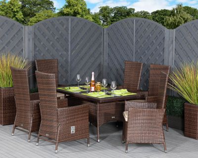 Cambridge 6 Reclining Rattan Garden Chairs and Small Rectangular Table Set in Chocolate and Cream