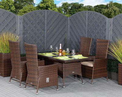 Cambridge 4 Reclining Chairs and Small Rectangular Dining Table Set in Chocolate and Cream