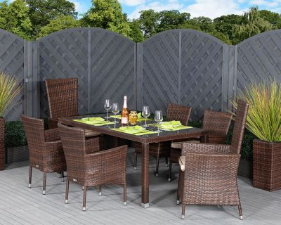 Cambridge 2 Reclining + 4 Stackable Rattan Garden Chairs and Open Leg Rectangular Table Set in Chocolate Mix and Coffee Cream