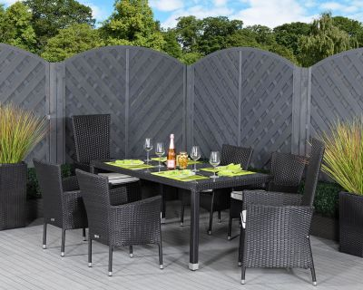 Cambridge 2 Reclining + 4 Stackable Rattan Garden Chairs and Open Leg Rectangular Table Set in Black and Vanilla