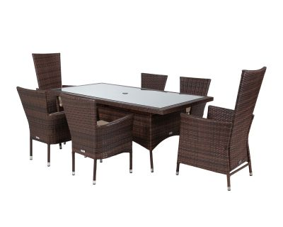 Cambridge 2 Reclining + 4 Non-Reclining Rattan Garden Chairs and Rectangular Dining Table Set in Chocolate and Cream