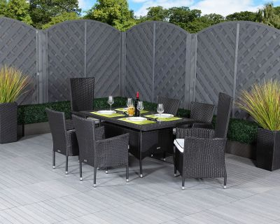 Cambridge 2 Reclining + 4 Non-Reclining Rattan Garden Chairs and Rectangular Table Set in Black and Vanilla