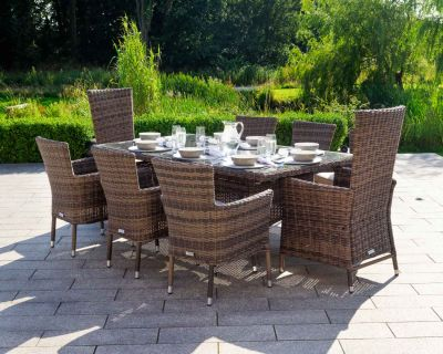Cambridge 2 Reclining & 6 Stackable Chairs and Rectangular Table Set in Premium Truffle Brown and Champagne