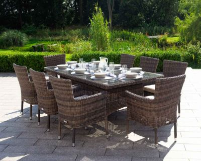 Cambridge 8 Stackable Chairs and Rectangular Dining Table in Premium Truffle Brown and Champagne