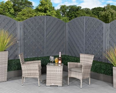 Cambridge Rattan Garden Bistro Square Set in Grey