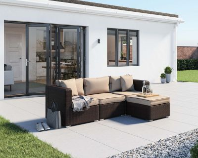 Florida 4 Piece Rattan Garden Corner Set in Chocolate and Cream