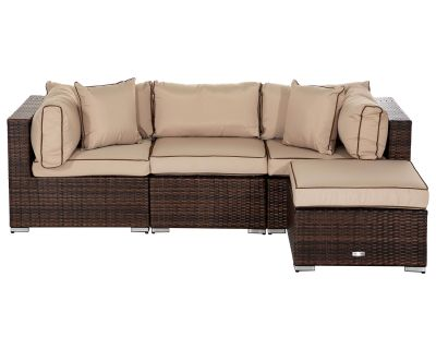Florida 4 Piece Rattan Garden Corner Sofa Set in Chocolate and Cream