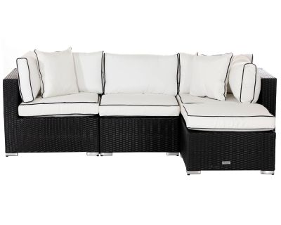 Florida 4 Piece Rattan Garden Corner Sofa Set in Black and Vanilla