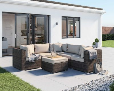 Florida 6 Piece Rattan Garden Corner Set in Truffle and Champagne