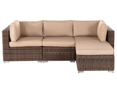 Florida 4 Piece Rattan Garden Corner Set in Truffle and Champagne
