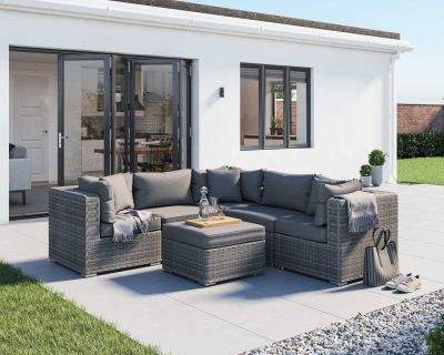 Florida 6 Piece Rattan Garden Corner Set in Grey