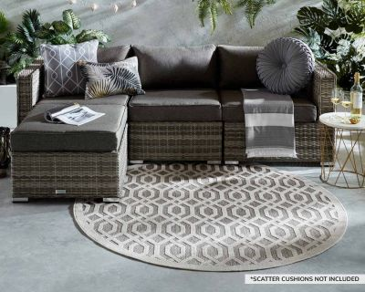Florida 4 Piece Rattan Garden Corner Sofa Set in Grey