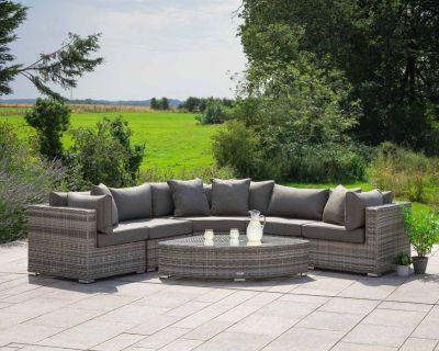 Florida 6 Piece Angled Rattan Garden Corner Sofa Set in Grey