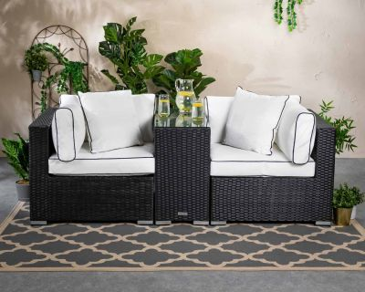 Florida Rattan Garden Armed High Bistro Set in Black and Vanilla