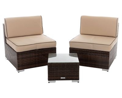 Coffee Cream Rattan Set