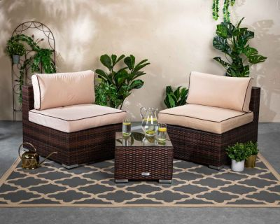 Florida Rattan Garden Bistro Set in Chocolate and Cream