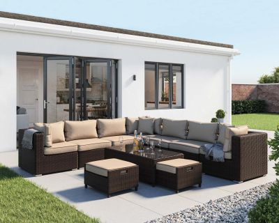 Geneva 11 Piece Rattan Garden Corner Sofa Set in Chocolate and Cream