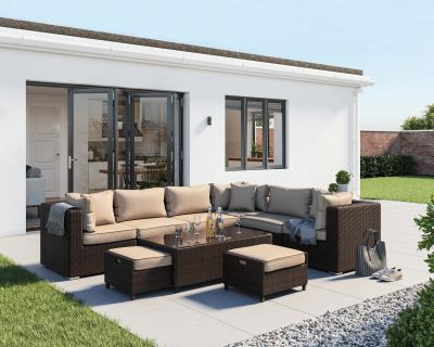 Geneva 5: Rattan Garden Corner Set in Chocolate and Cream