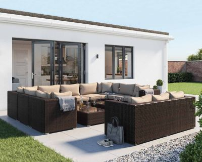 Geneva 12 Piece Rattan Garden Corner Sofa Set in Chocolate and Cream