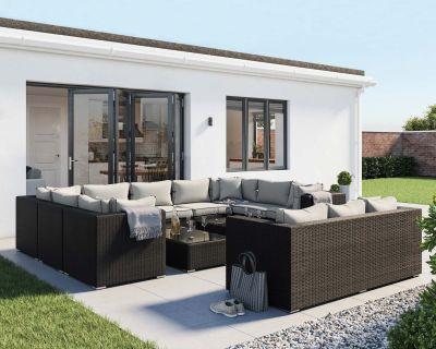Geneva 7: Rattan Garden Corner Set in Black and Vanilla