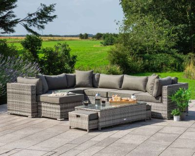 Geneva 10 Piece Rattan Garden Corner Sofa Set in Grey