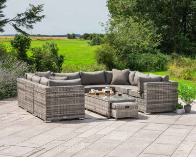 Geneva 2: Rattan Garden Sofa Set in Grey