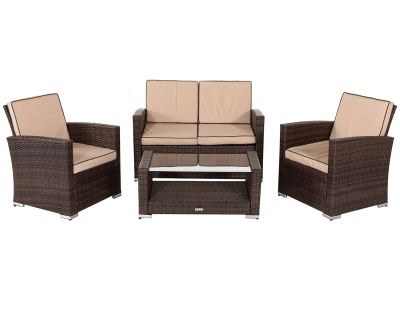 Marbella Rattan Garden Sofa Set in Chocolate Mix and Coffee Cream