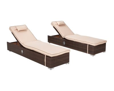 Pair of Rattan Garden Sun Loungers in Chocolate & Cream