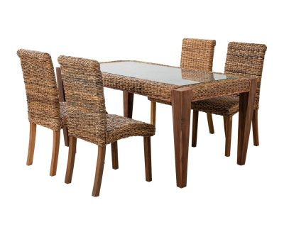 Rectangular Rattan Dining Table With Four Chairs