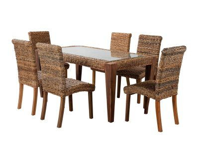 Milan Abaca Rattan Large Dining Table and 6 Chairs