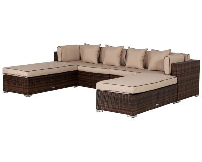 Monaco Rattan Garden Day Bed Sofa Set in Chocolate and Cream