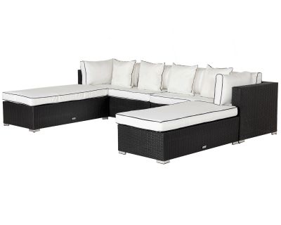 Monaco Rattan Garden Day Bed Sofa Set in Black and Vanilla
