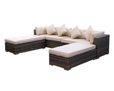 Monaco Rattan Garden Day Bed Sofa Set in Premium Truffle Brown and Champagne
