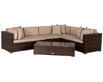 Monaco Rattan Garden Lefthand Corner Sofa Set in Chocolate and Cream