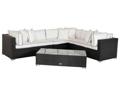 Monaco Rattan Garden Lefthand Corner Sofa Set in Black and Vanilla