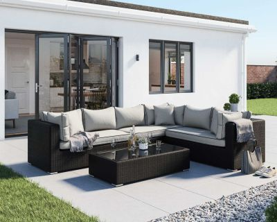 Monaco Rattan Garden Lefthand Corner Set in Black and Vanilla