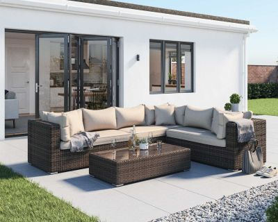Monaco Rattan Garden Lefthand Corner Sofa Set in Premium Truffle Brown and Champagne