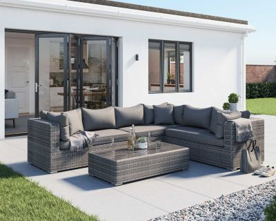 Monaco Rattan Garden Lefthand Corner Sofa Set in Grey