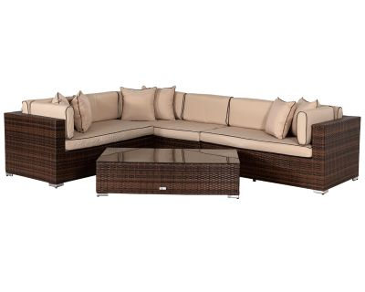Monaco Rattan Garden Righthand Corner Sofa Set in Chocolate and Cream