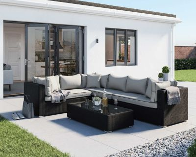 Monaco Rattan Garden Righthand Corner Set in Black and Vanilla