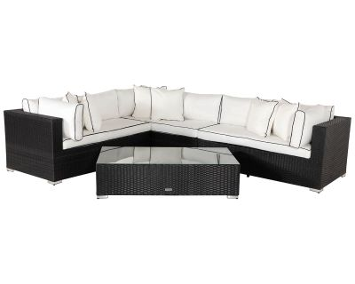 Monaco Rattan Garden Righthand Corner Sofa Set in Black and Vanilla