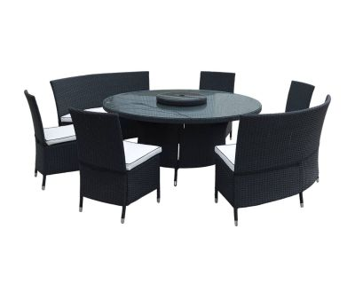 Oxford Rattan Garden Dining Set in Black and Vanilla