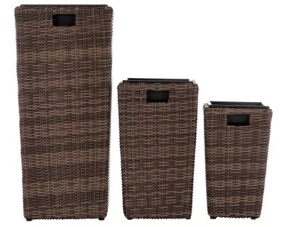 Rattan Plant Pot 3 Piece Set in Truffle